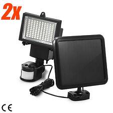 2Pack 100 SMD LEDs Solar Powered Motion Sensor Security Light Flood 16 22 60 80
