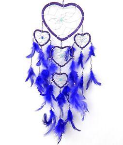 DREAM CATCHER PURPLE SILVER HEART 11x35cm BOYS GIRLS KIDS DREAMCATCHER GIFT