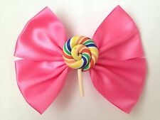 Color de rosa caliente Lollipop Remolino Cabello Moño Candy Lindo Kawaii Hada Kei
