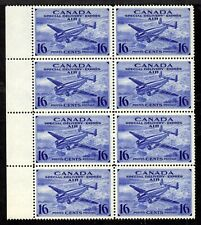 CANADA AIR MAIL SPECIAL DELIVERY #CE1 16c BLOCK/8, 1942, VF, MNH
