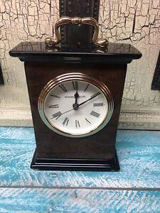 Howard Miller Berkley Desk Clock 645-577 (645577) Gloss Walnut Wood and Brass