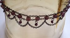 Seventh Sense Delicate Beaded Anklet Antiqued Black with Purple Beads Adjustable