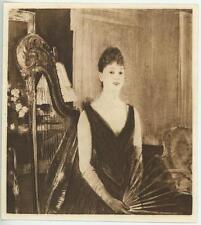 ANTIQUE VICTORIAN WOMAN EVENING DRESS GOWN EVENTAIL FAN HARP MINIATURE ART PRINT
