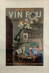 Vin Fou Henri Maire Original 1955 French Advertising Litho. Poster Paul Grimault