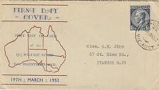 Stamp 1952 Australia 1/- &1/2d blue KGV1 on Haslem cachet FDC for the issue