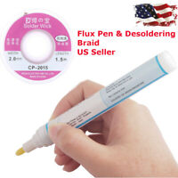 *Flux Pen 2mm Desoldering Braid Wick Solder Remover No Residue Rosin Flux