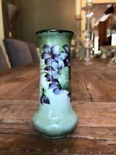 """Vintage 4 1/2"""" porcelain vase handpainted violets Austria, no mark"""