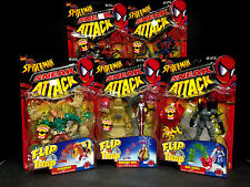 1998 TOY BIZ SPIDER-MAN SNEAK ATTACK FLIP 'N TRAP 5 FIGURE SET MADAME WEB D70
