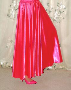 Satin Slip Skirt 100% Polyester Long Formal Slip Skirt Elastic Stretch Waist
