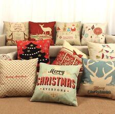 Christmas Santa Clause Natural Linen Cushion Cover Home Decor Throw Pillow Case