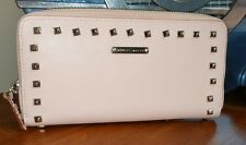 Rebecca minkoff Pale Pink silver studded full long size zip around wallet NWOT