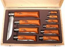 Opinel Display Of 10 Carbon BladeFolding Knifes in Wooden Gift Box 183102 NEW