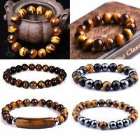 Protection Stress Relief Hematite Tigers Eye Bead Bracelet Women Men Jewelry Hot