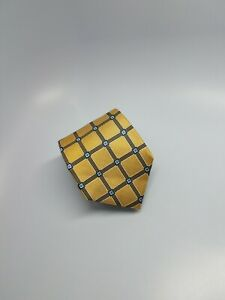 Jos A Bank Executive Collection Silk Tie Yellow Blue Squares Geometric 59 x 3.5