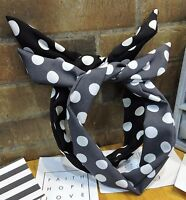 Women Lady Girl Retro Dots Wire Bunny Ear bow scarf Hair head band headband Tie