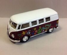 "5"" Kinsmart 1962 Volkswagen Classical Bus w/Decal 1:32 Diecast Love Peace MAROON"