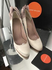 Karen Millen Shoes Sz 7 Eu 40 Satin Cream And Pink Good Condition