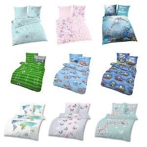 Kinder-Bettwäsche für Mädchen & Jungen 2 tlg. 80x80 + 135x200 100% Baumwolle