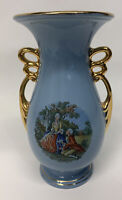 "1 ABINGDON USA POTTERY 535 BLUE ART DECO VASE CORTING COUPLE 9"" GOLD TRIM EUC"