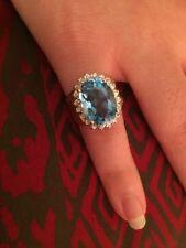 14k Gold Blue Topaz And Diamond Runway Statement Ring 8.5 Grams