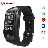 Lemfo Bluetooth GPS Impermeable Reloj Inteligente Negro Pulsometro  Android iOS