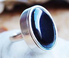 Massiv Breit Silberring 57 Onyx Schwarz Handarbeit Silber Ring Schlicht Kuppel
