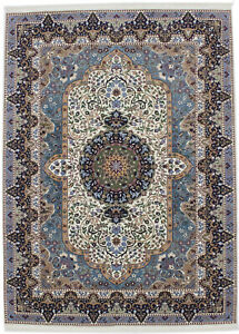Cream New Hand-Knotted Kirman 7X9 Oriental Home Décor Wool Area Rug Wool Carpet