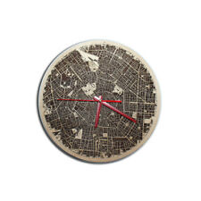 Madera Reloj de Pared Mapa de Ciudad Milan Casa Hogar Oficina Arte 32сm
