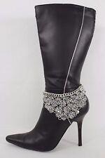 Women Silver Metal Chain Boot Bracelet Western Shoe Charm Bling Jewelry Flowers