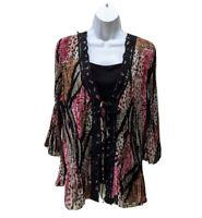 Dressbarn Boho Top Blouse Long Sleeve Pleated Festival Womens 1X Layer Look