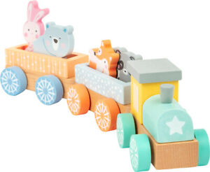 Wooden train in pastel colours with woodland animals