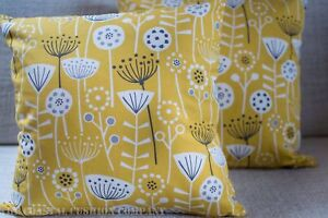 "Scandinavian floral double sided cushion. 17x17"" Square Geometric Ochre Yellow."