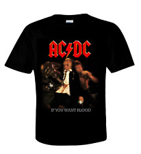 AC/DC  official T-Shirt  IF YOU WANT BLOOD  Australian Rock N Roll  Angus Young