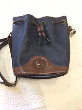 VINTAGE DOONEY BOURKE Drawstring Bucket Bag Black Brown Pebble Leather Purse USA