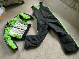 VTG Arctic Cat Snowmobile Suit JACKET & FULL CHEST BIBS 2 PIECE Arcticwear Large