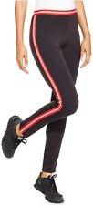 HUE Leggings Sz L Black Red Sporty Stripe Ponte Full Length Legging U16102