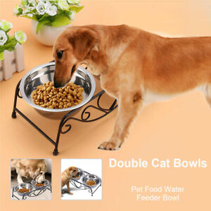 Double Pet Bowls Dish Dog Cat Stand Feeder Food Water Stainless Steel Durable