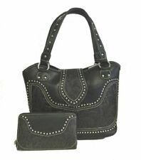 Montana West Ladies Concealed Gun Carry Purse Wallet Set Floral Tooling Black