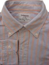 TM LEWIN Shirt Mens 15.5 M Blue - Orange Stripes NEW ENGLAND CLASSIC FIT