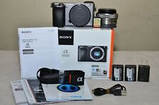 Sony Alpha a6000 24.3MP(Graphite Edition) w/16-50mm Lens+Extras_Low Clicks, MINT