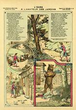 """""""L'OURS & L'AMATEUR DES JARDINS (LA FONTAINE)"""" Image d'Epinal entoil. CHAUFFOUR"""