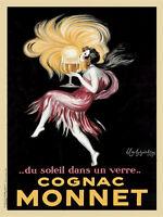 Cognac Monnet, 1927 by Leonetto Cappiello Vintage Bar Art Print Poster 18x24