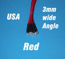 10 x LED - 3mm PRE WIRED 12 VOLT WIDE VIEW ANGLE RED