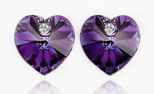 elegant & Tief Violett Herzen Stecker Kristall Ohrringe E362