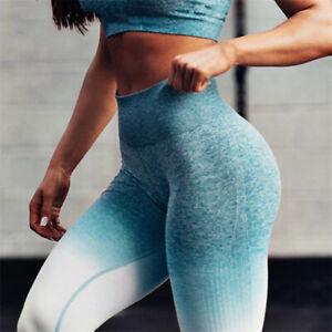 Yoga Pants Green Tight leggings Gradient Women's Gym High Waist Size M,L,XL
