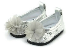 """Silver Sequin Flat Shoes w/Flower for 14.5"""" American Girl Wellie Wishers Dolls"""