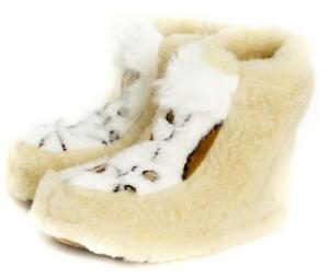 Sheepskin Sheep Wool Warm Women's Men Slippers Boots Cozy Foot Indoor Natural