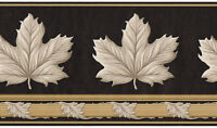 Architectural Taupe Acanthus Scroll Maple Leaf Gold Black Wall paper Border
