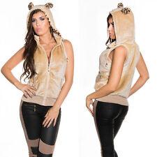 FELPA BEIGE donna SMANICATA gilet LEOPARDO orecchie cappuccio leopardata L/XL