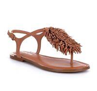 GIANNI BINI Mackenzie Leather Fringe Sandals Ibiza Nude Size - 7.5m